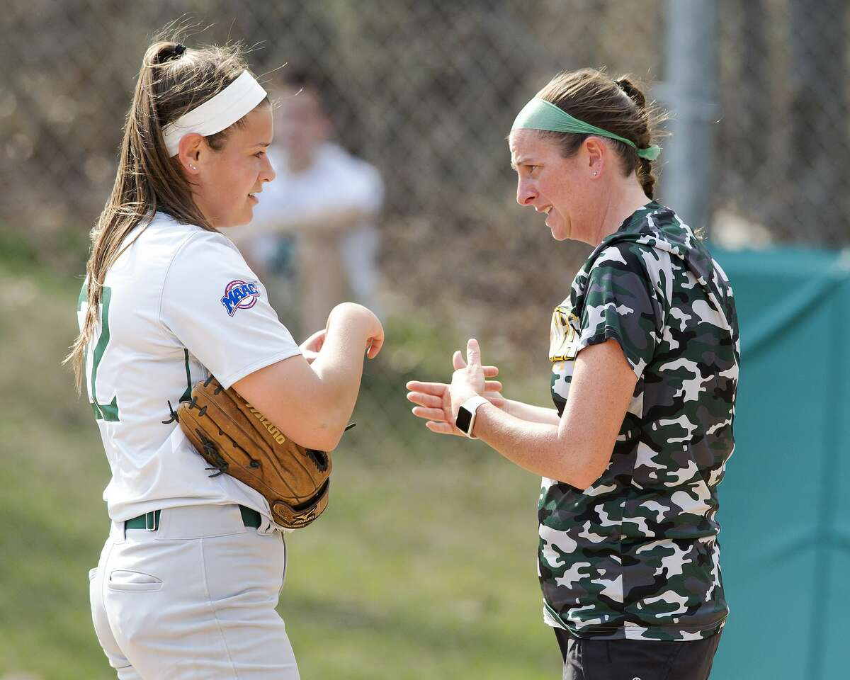 Casey Bump, right, has been Siena softball's pitching coach for the past seven seasons. (Courtesy of Siena College Athletics)