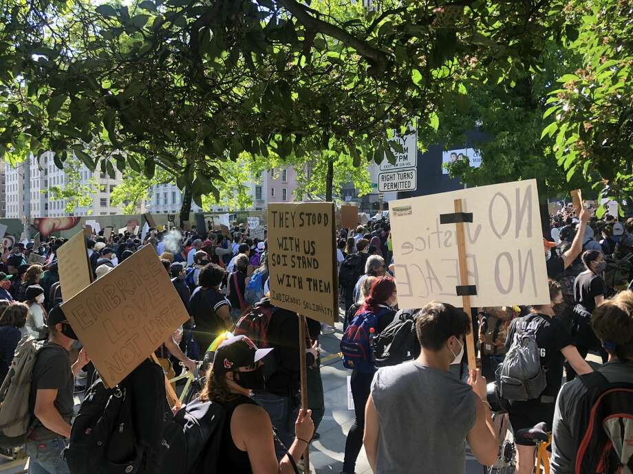 Protesters march against police brutality in downtown Seattle, June 1, 2020. Photo: Becca Savransky, SeattlePI