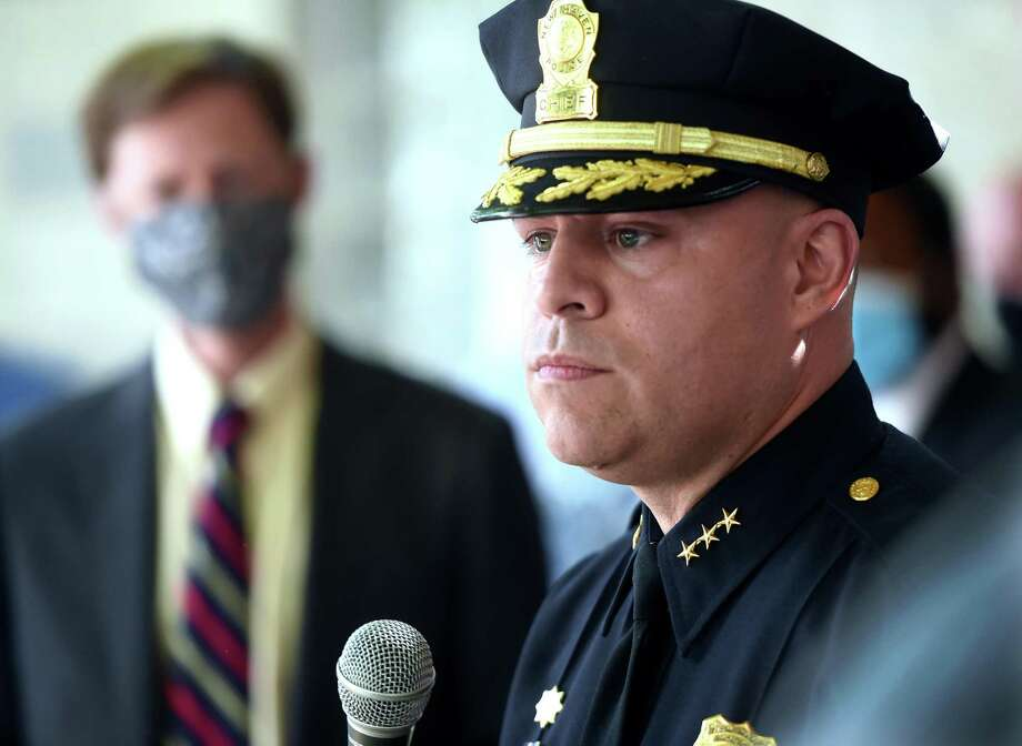 New Haven Police Chief Otoniel Reyes answers questions during a press conference at the New Haven Police Substation on Winchester Avenue in New Haven on June 1, 2020. Photo: Arnold Gold / Hearst Connecticut Media / New Haven Register