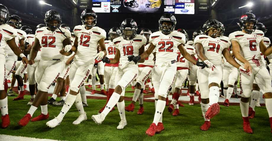 Westfield celebrate the team's win over Dallas Jesuit in a 6A division II regional final high school football game, Dec. 7, 2019, in Houston. Photo: Eric Christian Smith/Contributor