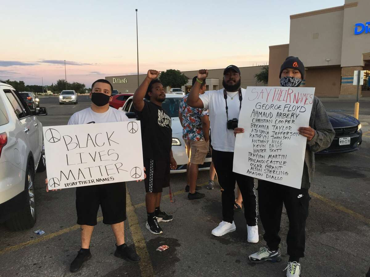 A small group gathered Tuesday evening at the Midland mall to continue to protest.