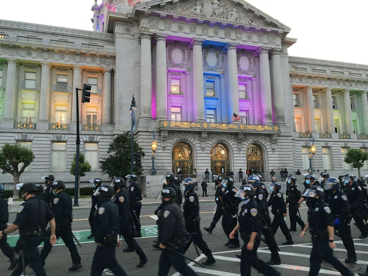 The scene outside San Francisco City Hall on June 1, 2020 after the conclusion of a protest of the killing in Minneapolis of George Floyd by a police officer. That killing has sparked days of protest across the country.