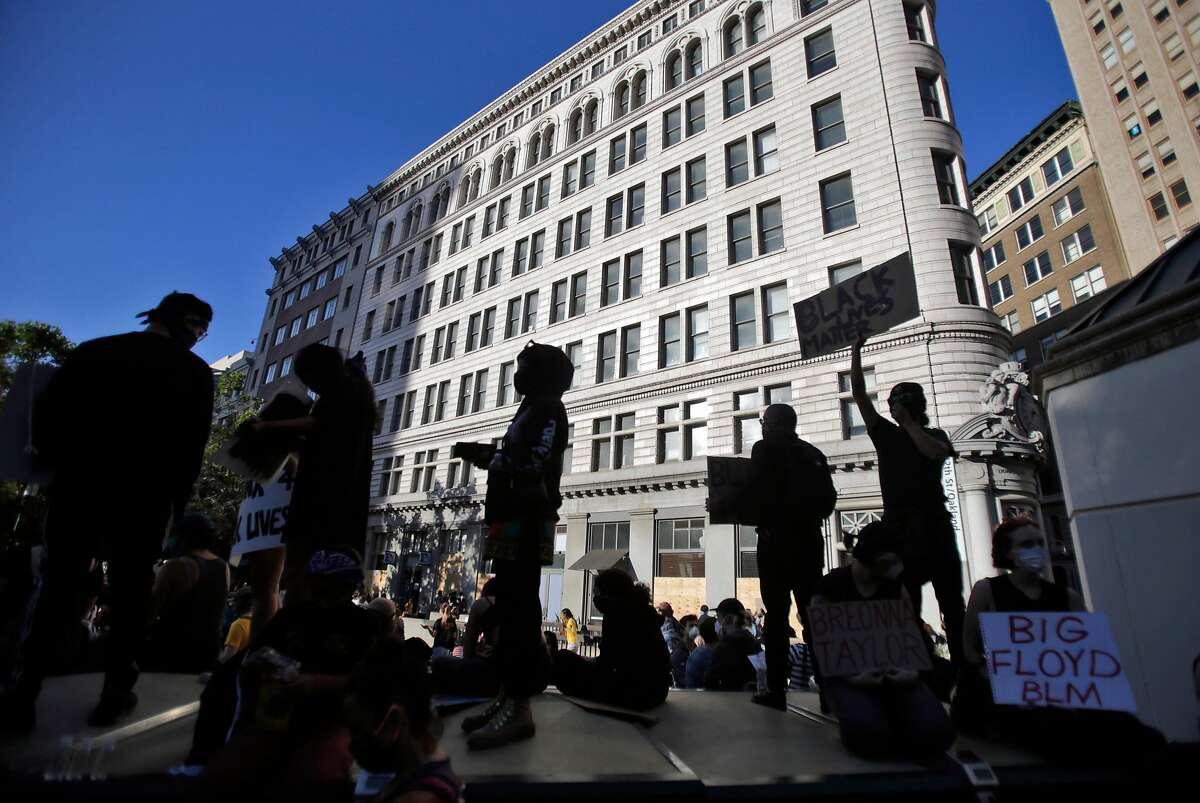 Demonstrators at Frank Ogawa Plaza in Oakland on Monday, June 1, 2020.
