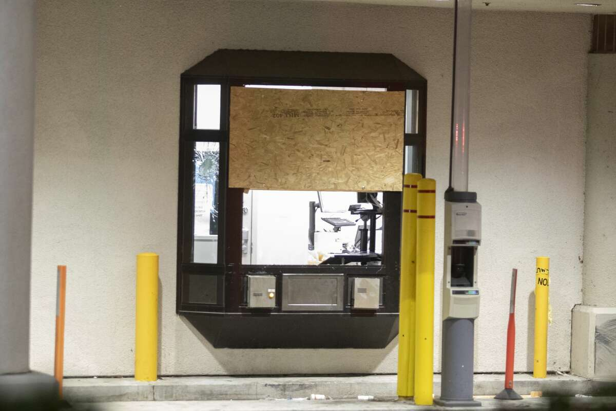 A boarded drive-through windows after police officers shot a man while responding to reports of a burglary at Walgreens in Vallejo, Calif., early Tuesday, June 2, 2020.Vallejo Police Chief Shawny Williams said an officer shot and killed Sean Monterrosa, 22, of San Francisco, who was unarmed but possessed a hammer.