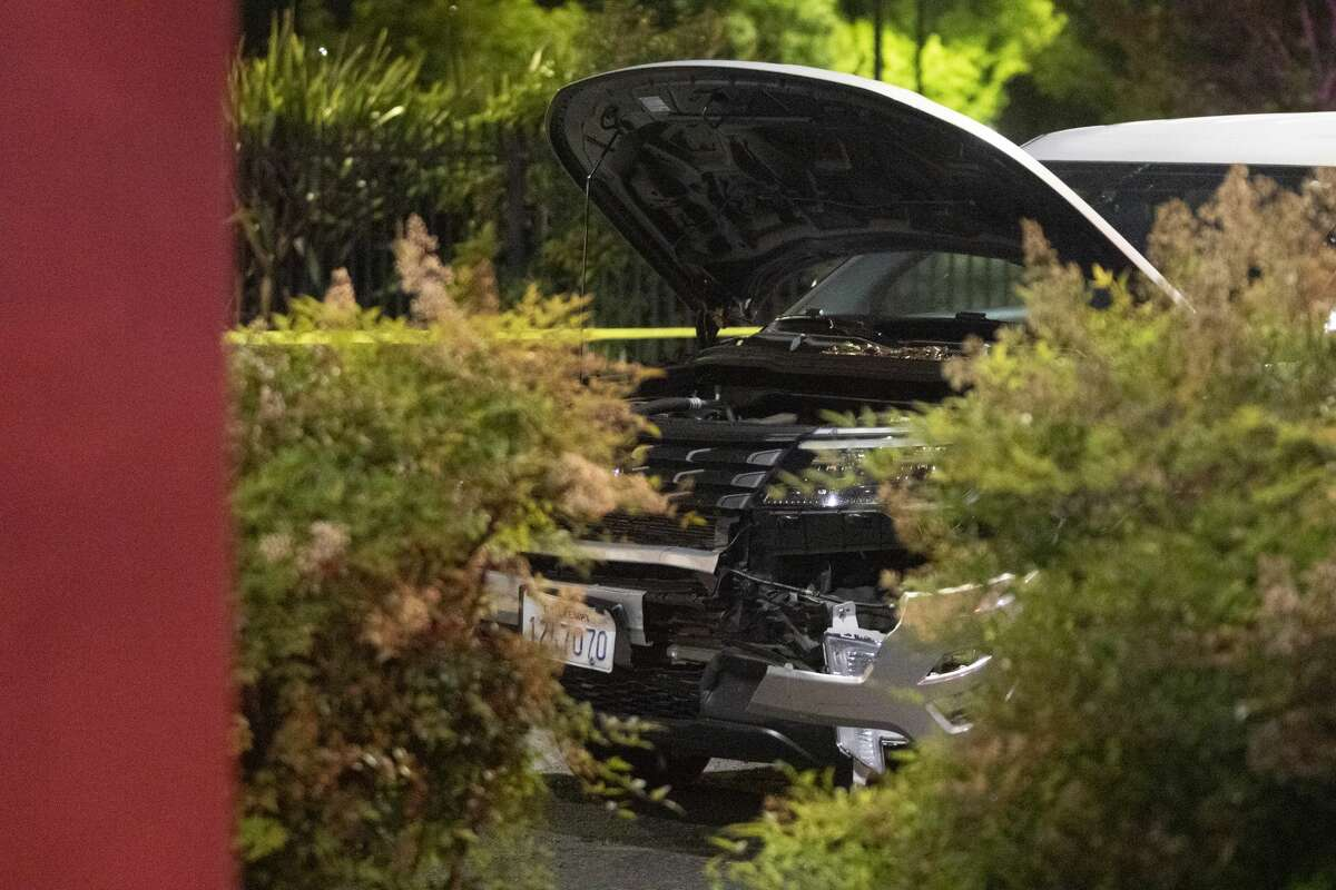 A damaged police SUV in a parking lot after police officers shot a man while responding to reports of a burglary at Walgreens in Vallejo, Calif., early Tuesday, June 2, 2020.Vallejo Police Chief Shawny Williams said an officer shot and killed Sean Monterrosa, 22, of San Francisco, who was unarmed but possessed a hammer.