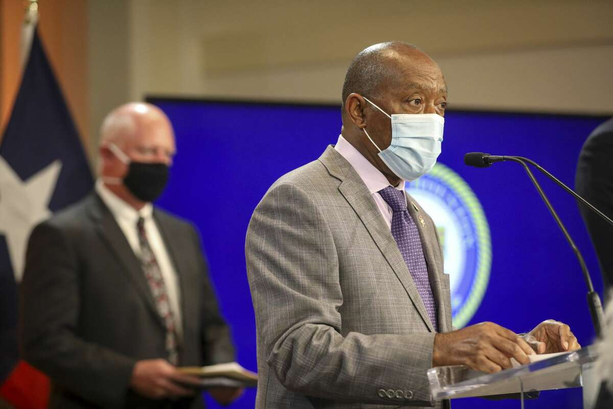 Houston Mayor Sylvester Turner speaks during a press conference Monday, June 1, 2020, at City Hall in Houston.