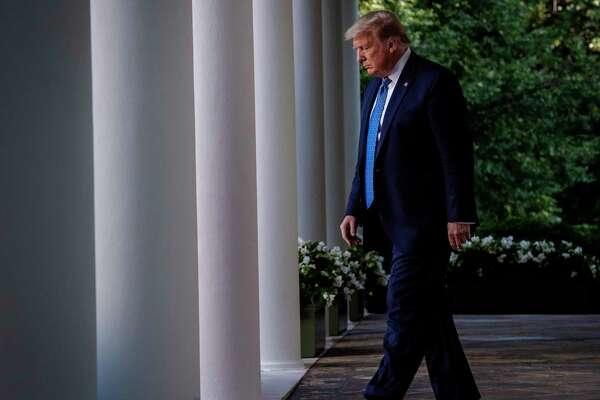 President Trump walks from the Oval Office before making remarks in the White House Rose Garden on June 1, 2020.