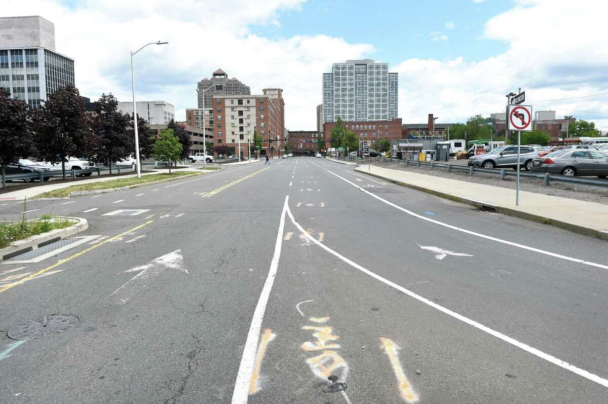 The Orange Street off ramp from Rt. 34 in New Haven photographed on June 1, 2020.