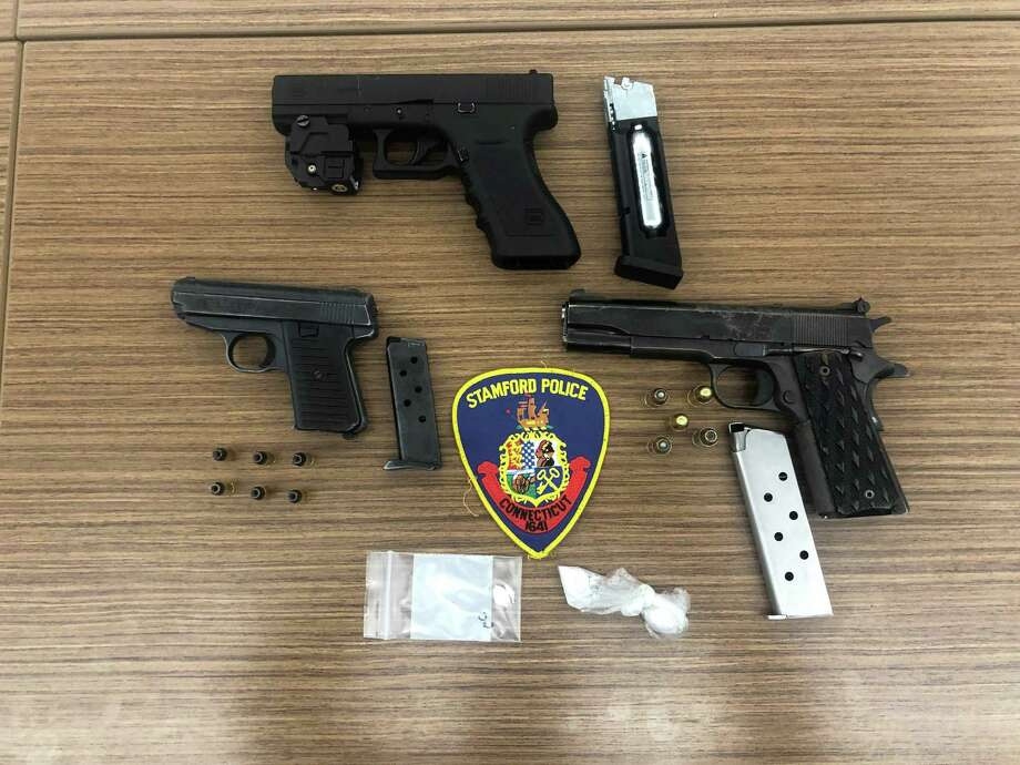 Two firearms and one pistol, which poilce seized during a raid at two Ludlow Street addresses late Friday afternoon, May 30, 2020. Photo: Stamford Police Department / Contributed