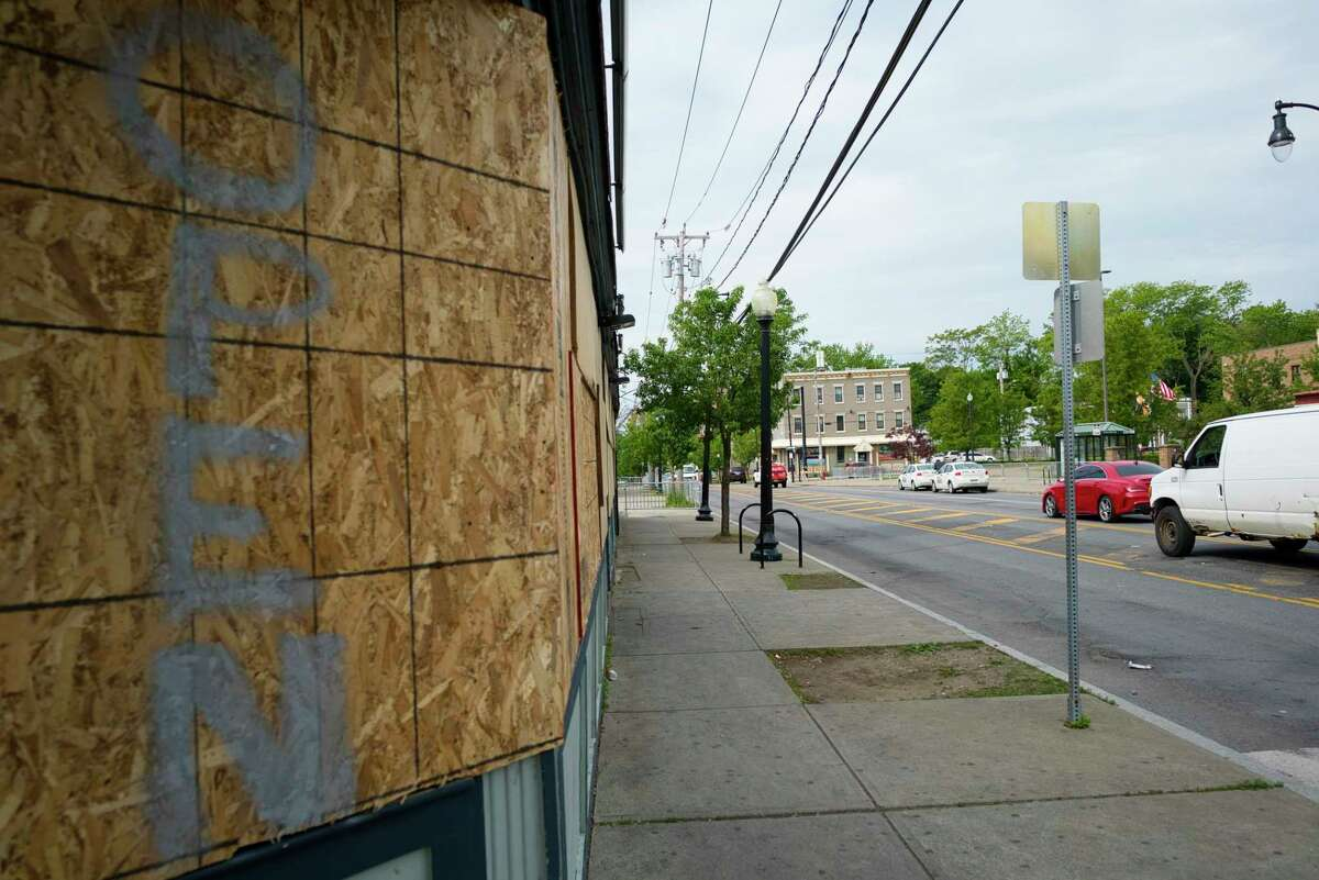 A view of Henry Johnson Blvd. near the Albany Police headquarters on Henry Johnson Blvd., on Tuesday morning, June 2, 2020, in Albany, N.Y. Police and protesters clashed in the area around the headquarters into the early morning hours of Tuesday. (Paul Buckowski/Times Union)