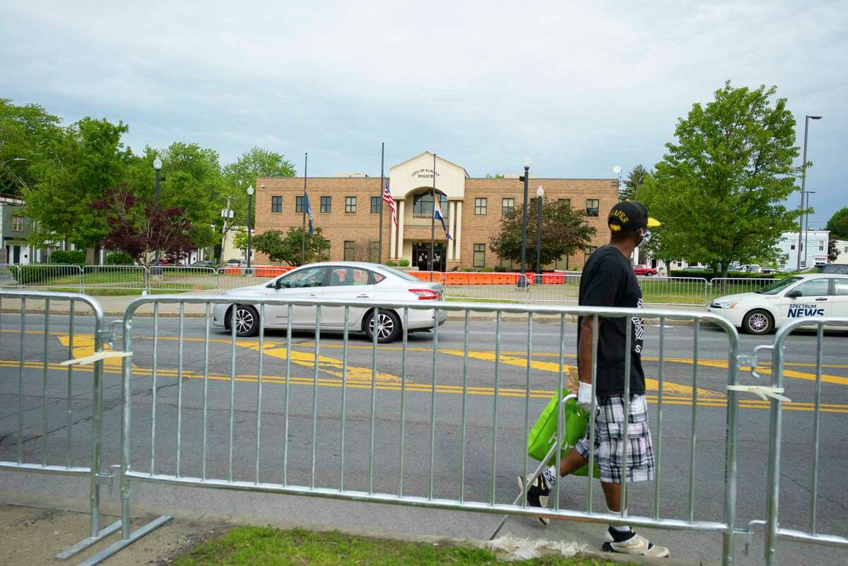 A view of the Albany Police headquarters on Henry Johnson Blvd., on Tuesday morning, June 2, 2020, in Albany, N.Y. Police and protesters clashed in the area around the headquarters into the early morning hours of Tuesday. (Paul Buckowski/Times Union)