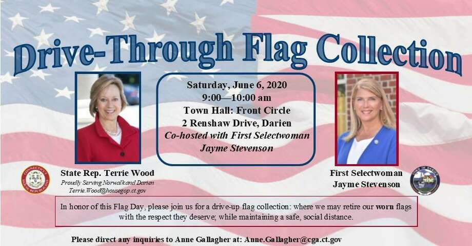 State Rep. Terrie Wood and First Selectman Jayme Stevenson will be holding a drive -up flag collection at Darien's Town Hall Saturday morning. Photo: Contributed