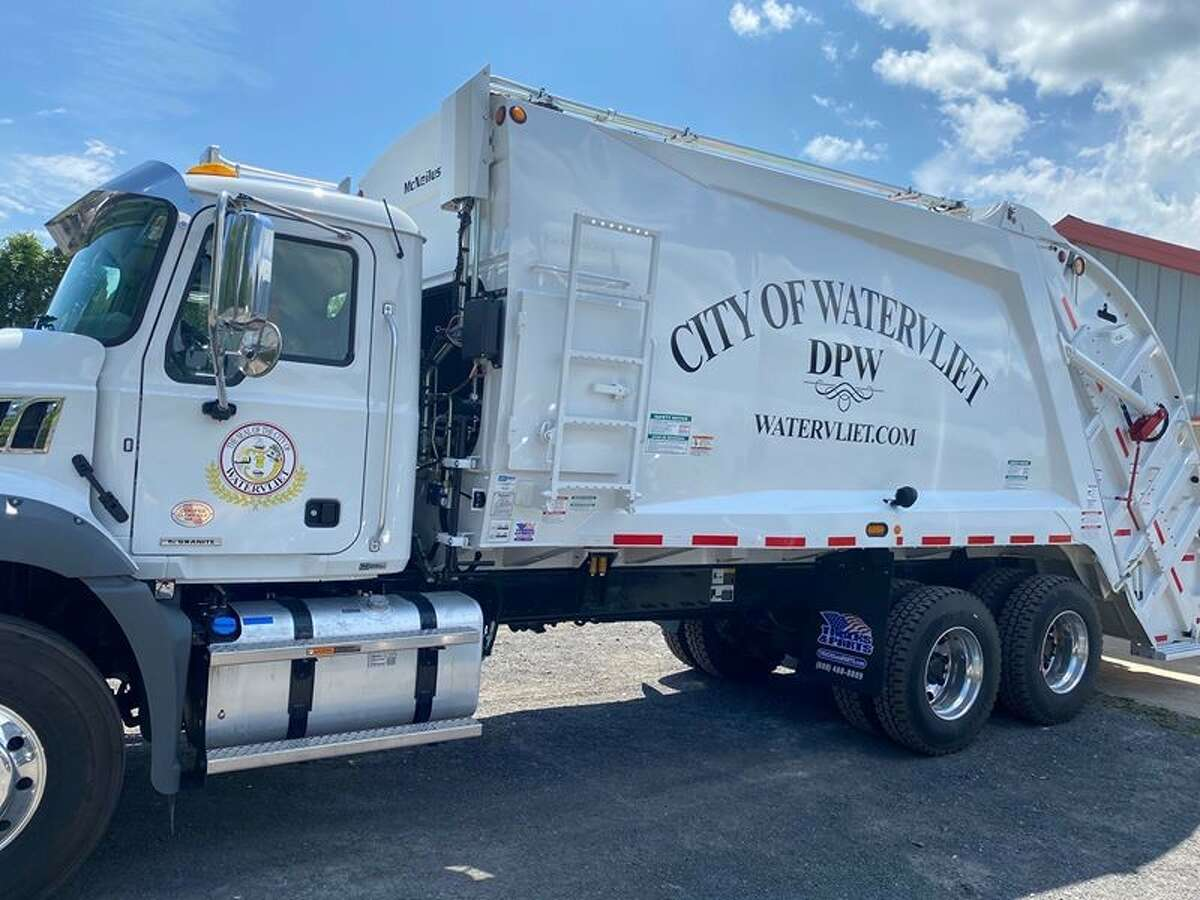 Watervliet's new garbage truck, valued at $270,000, was donated by city native Scott Earl, president and CEO of Twin Bridges Waste and Recycling.