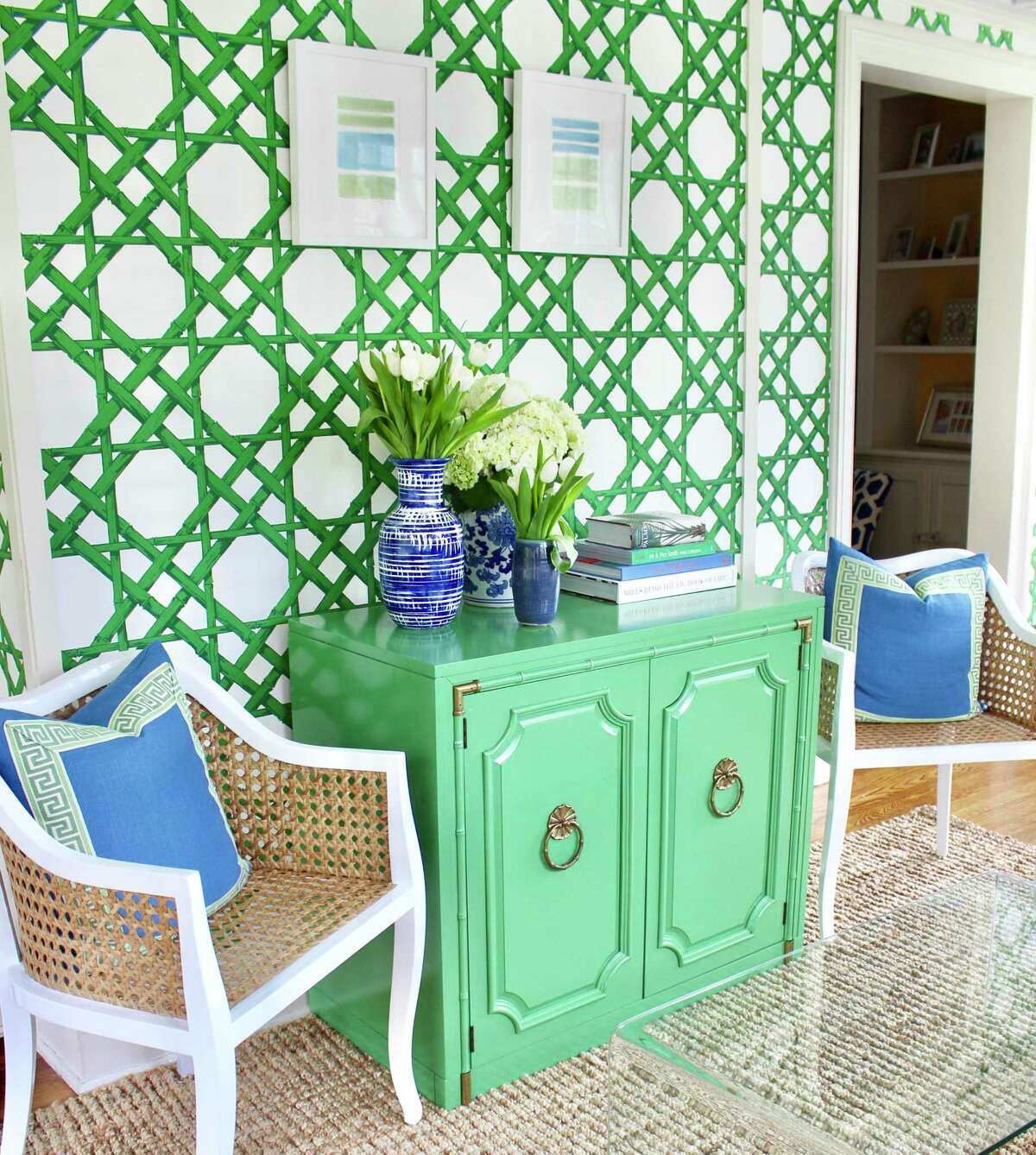 Blue and green are the standouts in this summer-inspired space, according to Kate Smith, owner of Kate Smith Interiors in Fairfield.