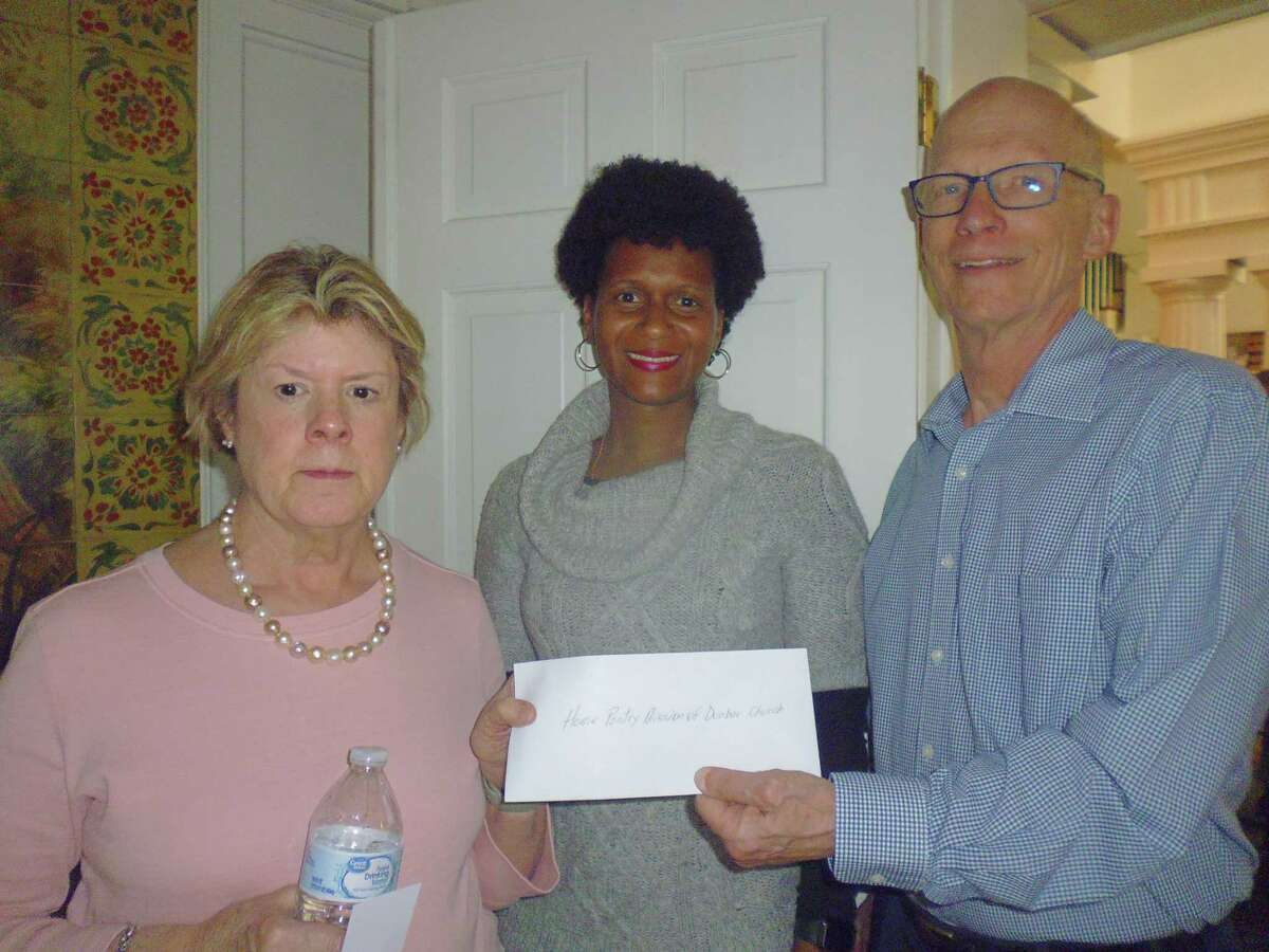 The Hamden Rotary Club recently made a $500 donation to the Home Pantry Mission, which is in its third year of operation providing food security to elderly men and women residing at the Davenport-Dunbar Residence in Hamden. Shown accepting the check from Rotarian Dick Baxter are Sandra Kops and Kerry-Ann Dyce.