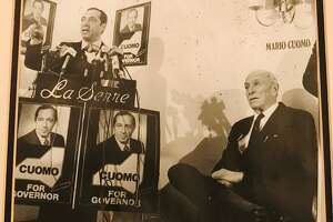 Mario M. Cuomo announces his candidacy for governor in 1982 at La Serre, as his mentor, Albany Mayor Erastus Corning 2nd looks on
