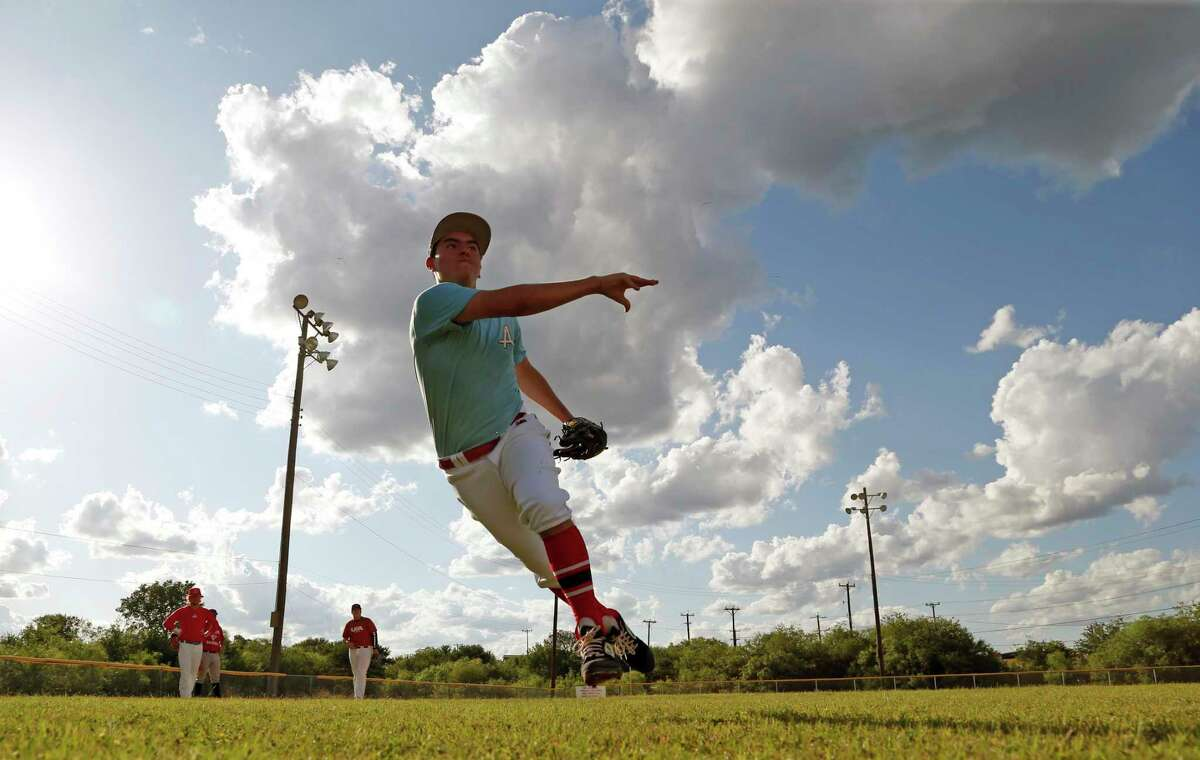 Kevin Rodriguez of Smithson Valley High School goes through drills for a TX Lions Select Baseball Club on Tuesday, May 26, 2020 at Beck Field. This club practices on a private field.
