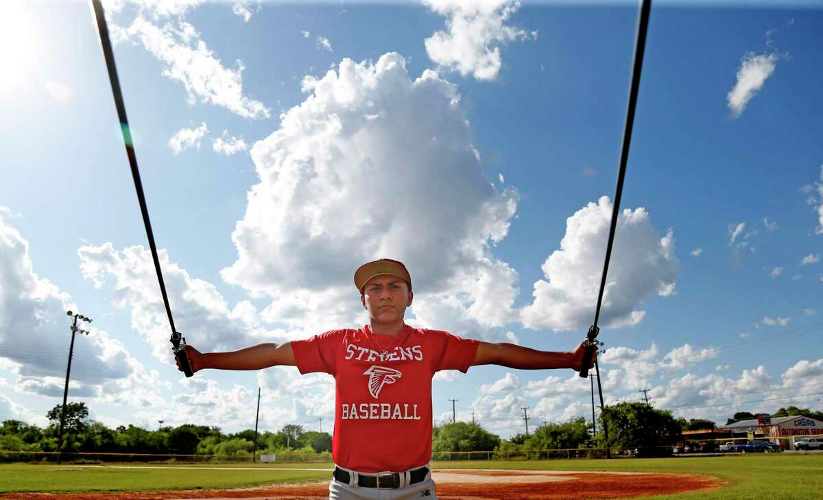 Juan Robles of Stevens High School goes through exercise before race for TX Lions Select Baseball Club on Tuesday, May 26, 2020 at Beck Field. This club practices on a private field.