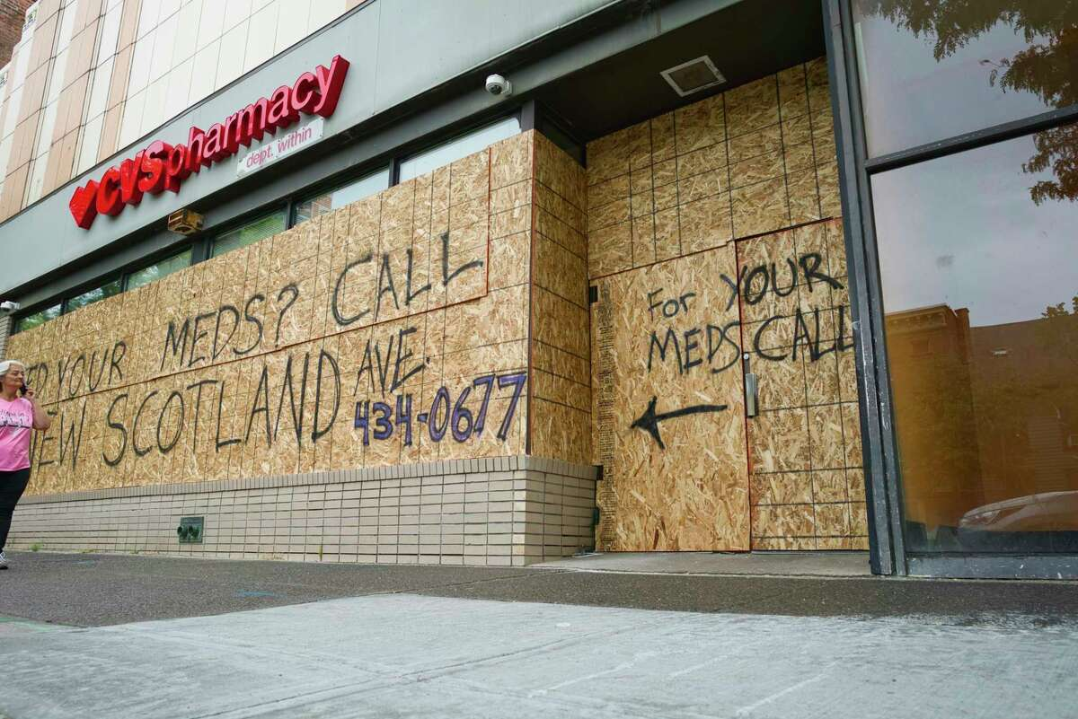 A CVS store on Central Ave. is seen boarded up on Tuesday, June 2, 2020, in Albany, N.Y. The store was damaged and items stolen on Saturday night. The store is now temporarily closed. (Paul Buckowski/Times Union)