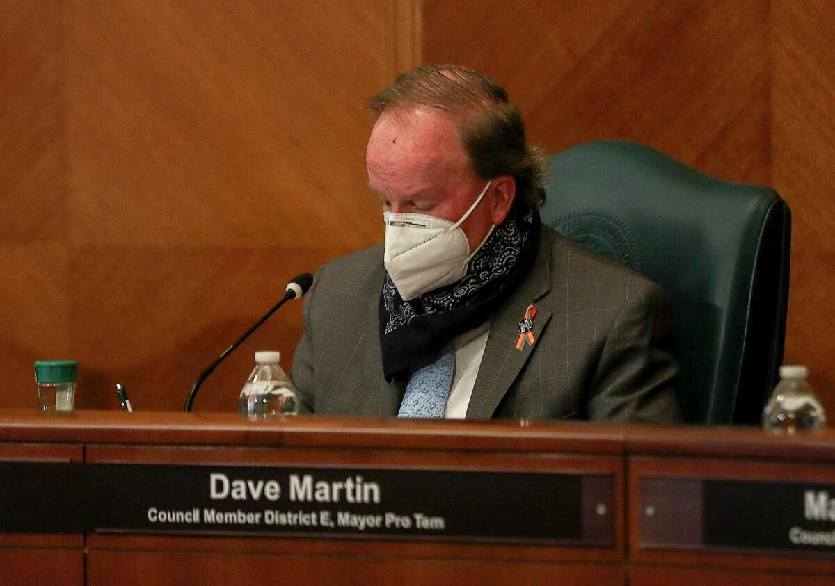 Houston City Councilmember Dave Martin, shown here at City Hall in May, announced Tuesday that the city will be able to use federal coronavirus relief funds to help close next year's budget gap.