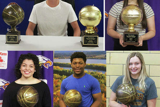Recipients of the 2020 Gallatin Awards include (clockwise from top left) boys player of the year and free-throw percentage winner Gavin Huffman of Roxana, girls player of the year Anna Hall of Civic Memorial, 110-percent girls winner Taylor Parmentier of East Alton-Wood River, 110-percent boys winner Iggy McGee of Marquette Catholic and girls free-throw winner Kourtland Tyus of CM. Team Sportsmanship awards went to Alton Redbirds boys and Marquette Explorers girls.