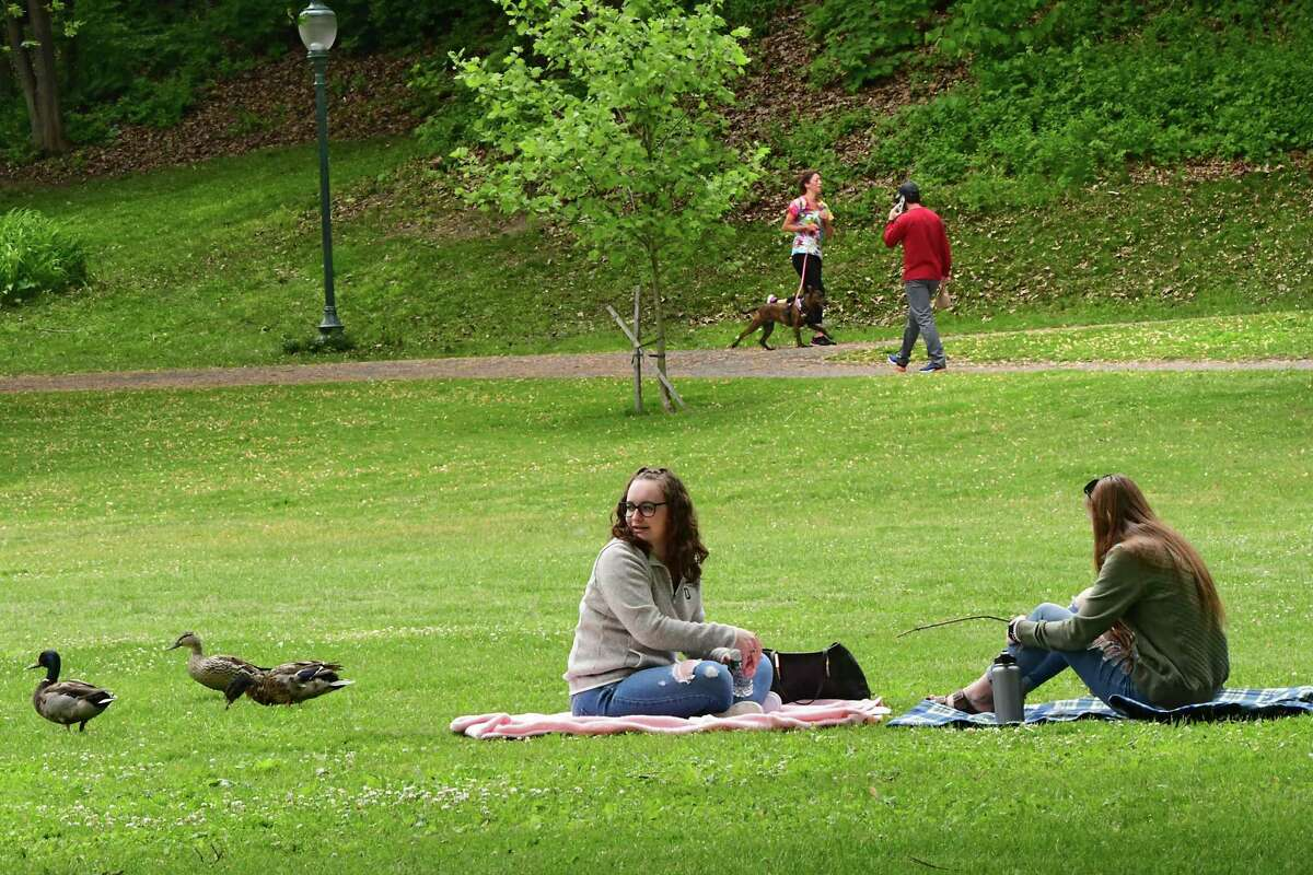 People enjoy the nice weather after a rainy morning in Congress Park on Tuesday, June 2, 2020 in Saratoga Springs, N.Y. (Lori Van Buren/Times Union)
