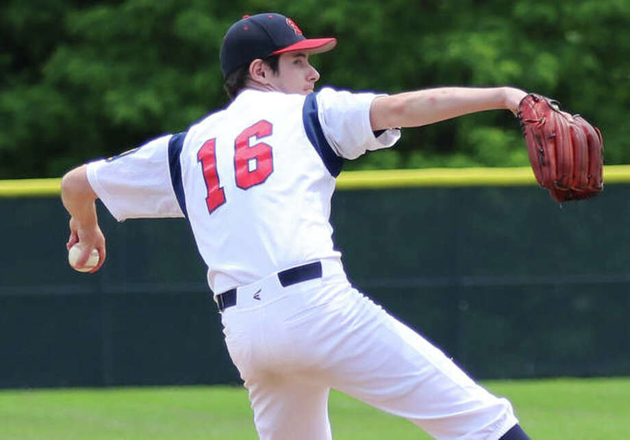 Michael Reeder of Alton pitched against Washington, Missouri during Saturday's season-opening doubleheader of the Missouri-Illinois summer league which was organized to fill the void left by the cancellation of the American Legion baseball season. Photo: Greg Shashack | The Telegraph