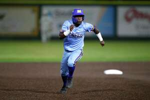 McNeese outfielder Payton Harden (18) runs to third base during an NCAA college baseball game against Southeastern Louisiana, Wednesday, May 1, 2019, in Hammond, La. (AP Photo/Tyler Kaufman)
