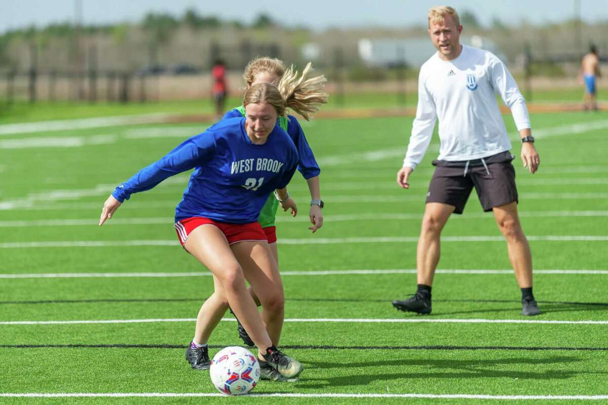 The Lady Bruins of West Brook are in the midst of their best regular season in recent memory under first-year head coach Adam Bell. Callie Jordan (2) controls the ball during drills at practice at BISD Memorial Stadium on March 11, 2020. Fran Ruchalski/The Enterprise