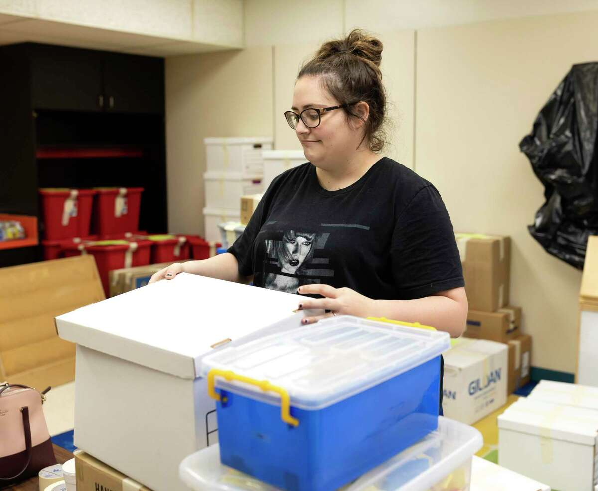 Caitlin Odom, kindergarten teacher at Peach Creek Elementary in Splendora, packs her classroom belongings in May. The district announced Wednesday that Peach Creek would be closing for two days out of an abundance of caution when an eighth positive case in the school was reported.