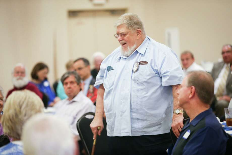 Rotarian Dick Coyle, past president 1988-1989, speaks during the 85th anniversary of The Rotary Club of Conroe in August 2017. Coyle passed away on Monday. Photo: Michael Minasi, Staff Photographer / Houston Chronicle / © 2017 Houston Chronicle