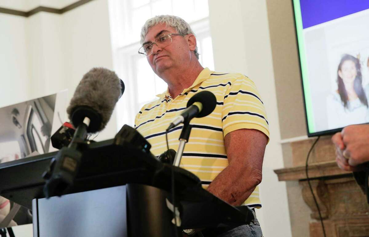 John Nicholas, brother of Rhogena Nicholas, answers questions during a press conference on Thursday, July 25, 2019 in Houston.