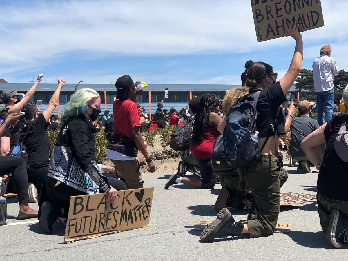 Protesters marching down the Great Highway in San Francisco on June 2, 2020.