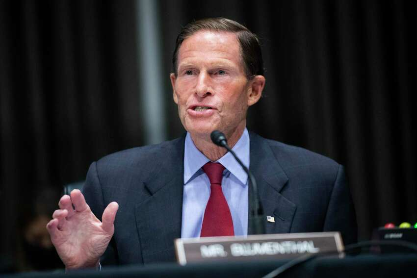 Sen. Richard Blumenthal, D-Conn., speaks during a Senate Judiciary Committee hearing examining issues facing prisons and jails during the coronavirus pandemic on Capitol Hill in Washington, Tuesday, June 2, 2020. (Tom Williams/CQ Roll Call/Pool via AP)