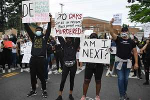 Photos from the Black Lives Matter protest in front of the Public Safety Complex in Greenwich on Monday. More than 50 protestors gathered peacefully in honor of George Floyd and all other victims of police brutality, chanting their names and asking what the Greenwich Police Department is doing to avoid profiling, racism and brutality within its system.