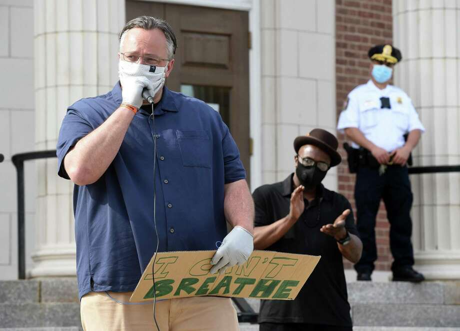 Hamden Mayor Curt Leng speaks at a rally in front of Hamden Memorial Town Hall following a unity march on Dixwell Avenue on June 2, 2020 in the aftermath of the George Floyd death at the hands of Minneapolis Police. Photo: Arnold Gold / Hearst Connecticut Media / New Haven Register