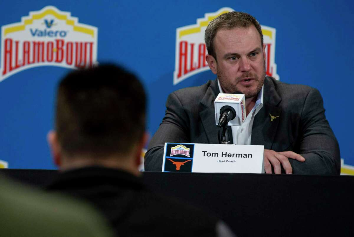 Texas Longhorns coach Tom Herman speaks during the final press conferences before the Valero Alamo Bowl at the Alamodome on Dec. 30, 2019.