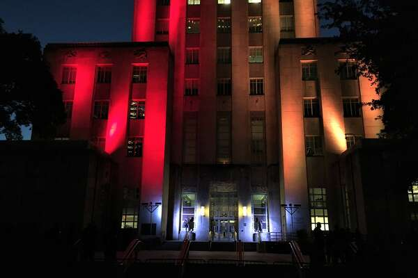 City Hall is glowing with crimson and gold lights, Houston Chronicle reporter St. John Barned-Smith tweeted.