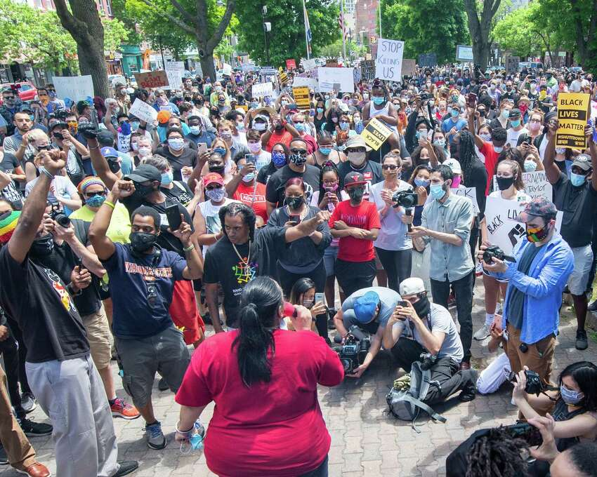 Saturday's rally at Albany's Townsend Park drew hundreds protesting police brutality in the wake of the killing of George Floyd, an unarmed black man in Minneapolis.
