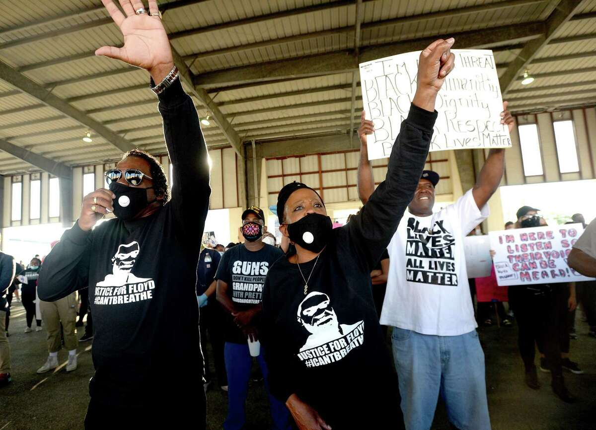 Participants join in a protest gathering for George Floyd at the pavilion in Port Arthur. The event was organized by the area NAACP. Photo taken Tuesday, June 2, 2020 Kim Brent/The Enterprise