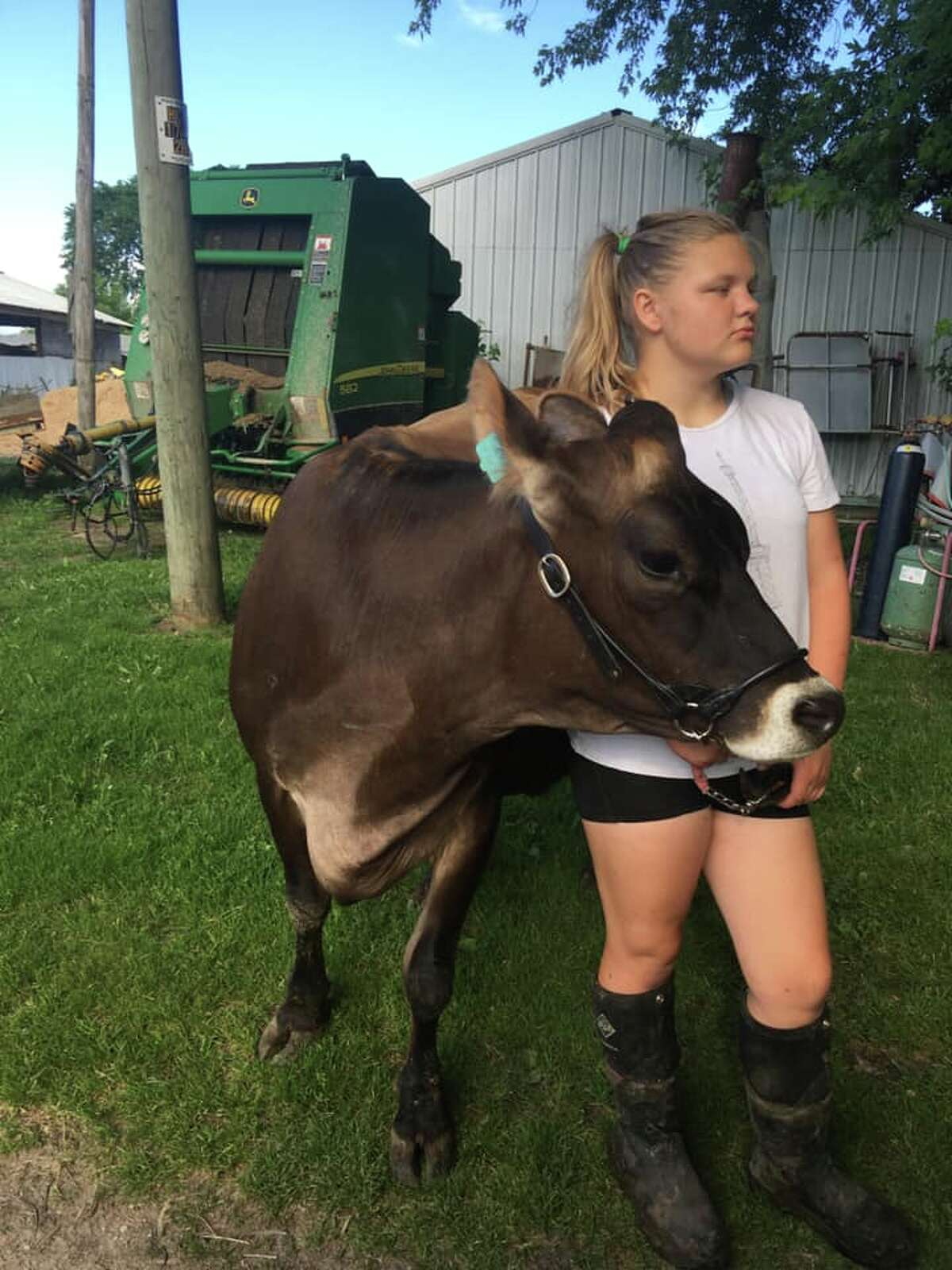 Rayelynn Lewallen shows dairy breedstock for Morley Stanwood Critter Club.