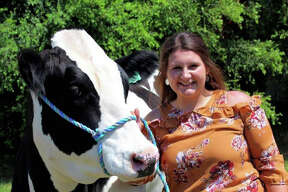 Kelsei Cosalynn Rushmore she shows dairy feeders, beef steers, goats, pigs and guinea pigs. Pine Grove Club.