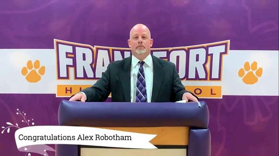 Principal Matt Stapleton announces a scholarship winner during Frankfort's virtual Class of 2020 Night on May 28.(Screenshot/YouTube video)