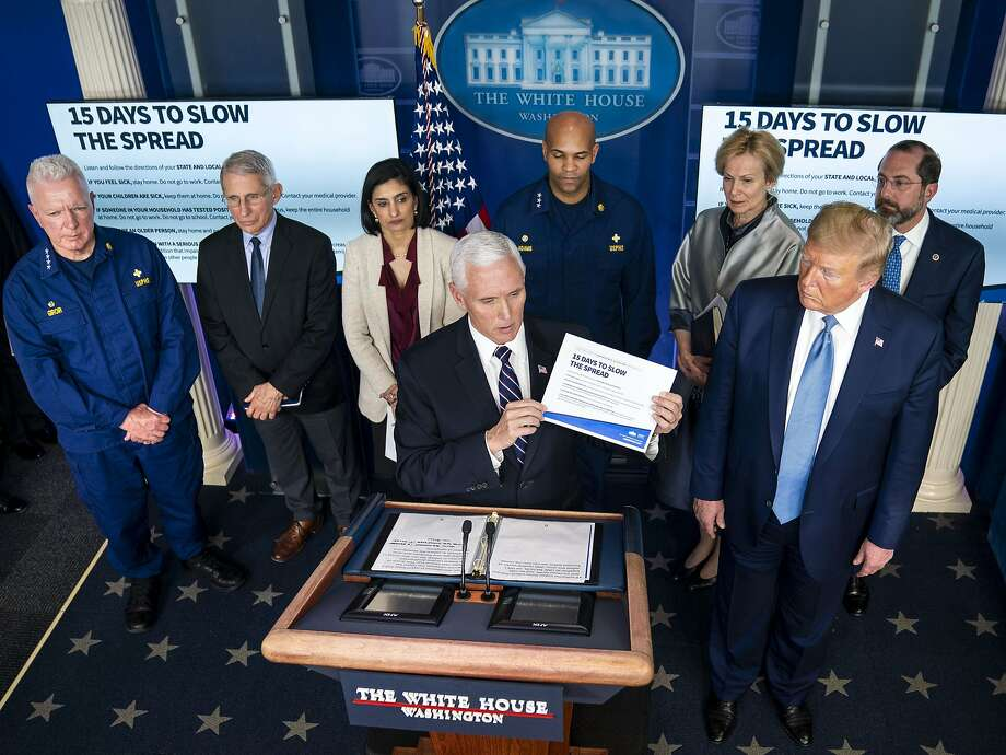 FILE -- Vice President Mike Pence speaks to reporters as President Donald Trump looks on in the White House briefing room on Monday, March 16, 2020. The Centers for Disease Control and Prevention, long considered the world's premier health agency, made early testing mistakes that contributed to a cascade of problems that persist today as the country tries to reopen. (Doug Mills/The New York Times) Photo: Doug Mills, NYT