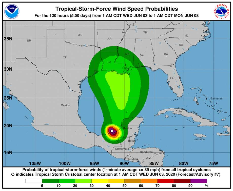 The National Weather Service's wind speed probabilities map for Wednesday, June 3, 2020 at 4 a.m. Photo: National Weather Service