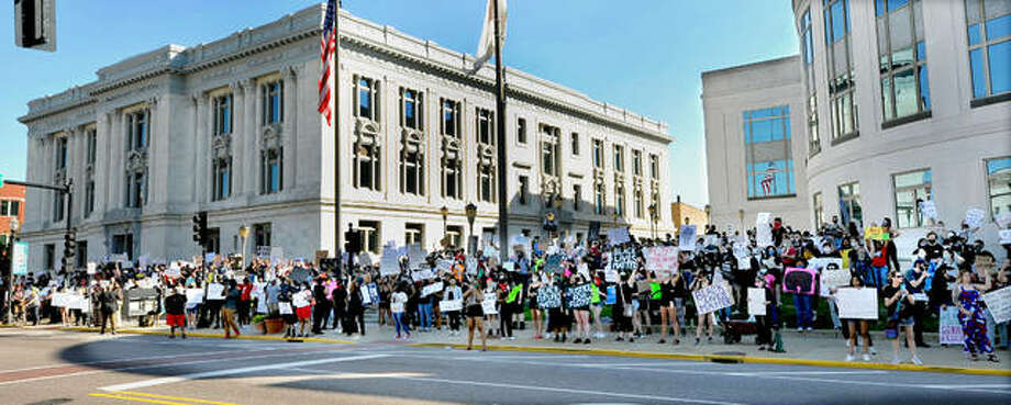 Protesters gather Sunday in Edwardsville in response to the manner and cause of death of George Floyd last week. Photo: Thomas Turney | For The Intelligencer