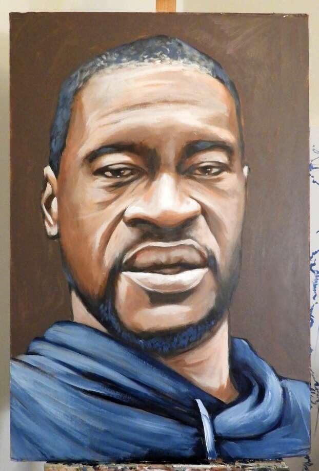 Anat Ronen's finished portrait of George Floyd Photo: Courtesy: Anat Ronen