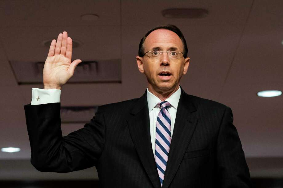Deputy Attorney General Rod Rosenstein is sworn in before a Senate Judiciary Committee hearing on Capitol Hill in Washington, Wednesday, June 3, 2020. (Jim Lo Scalzo/Pool via AP) Photo: Jim Lo Scalzo, AP / Pool EPA