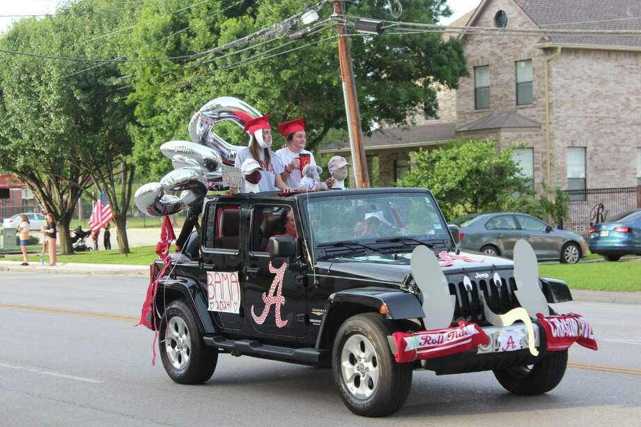 The graduating class of 2020 celebrated their achievements on Friday with a city-sponsored Celebration Drive, featuring student-decorated vehicles depicting the colleges they will be attending next semester while they drive around the Bellaire community. Photo: Staff Photo / Staff Photo