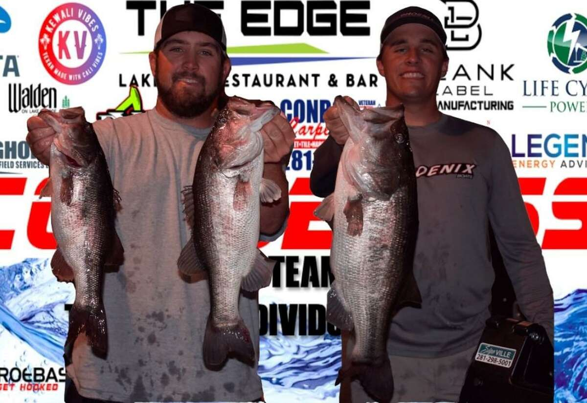 Jordan Lane and Zac Pickle came in second place in the CONROEBASS Tuesday tournament with a stringer weight of 14.90 pounds.